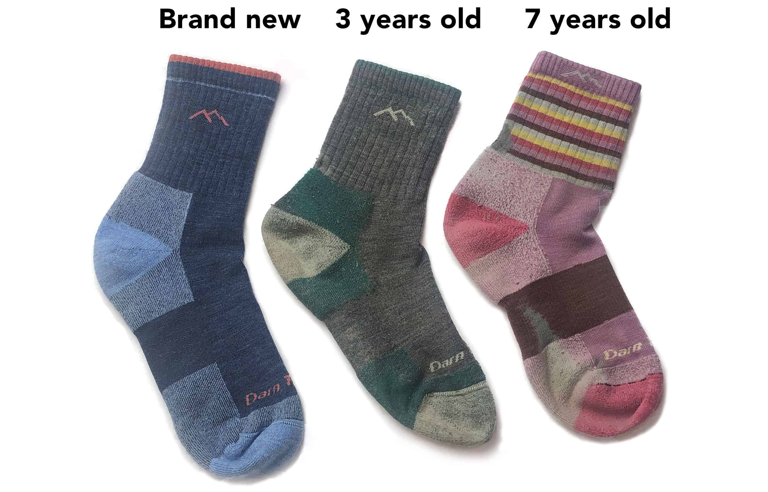 comparing the wear and tear of darn tough socks
