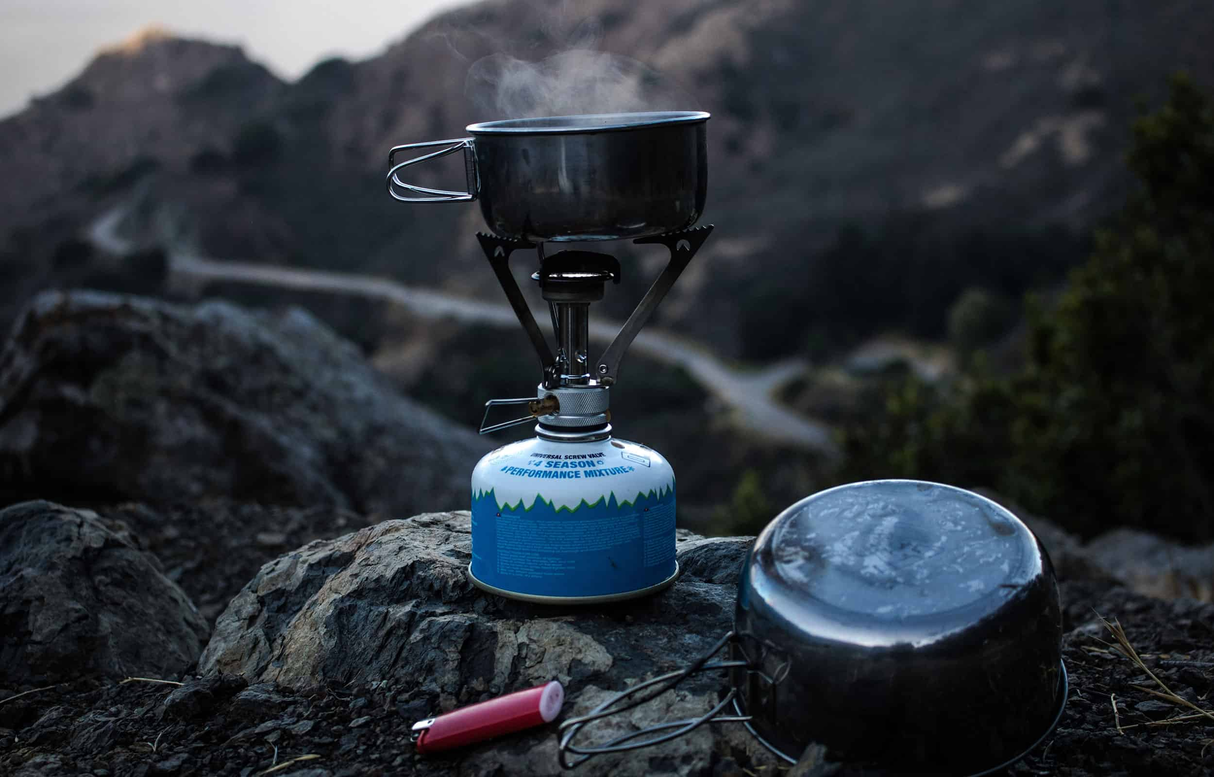 camping stove cooking food