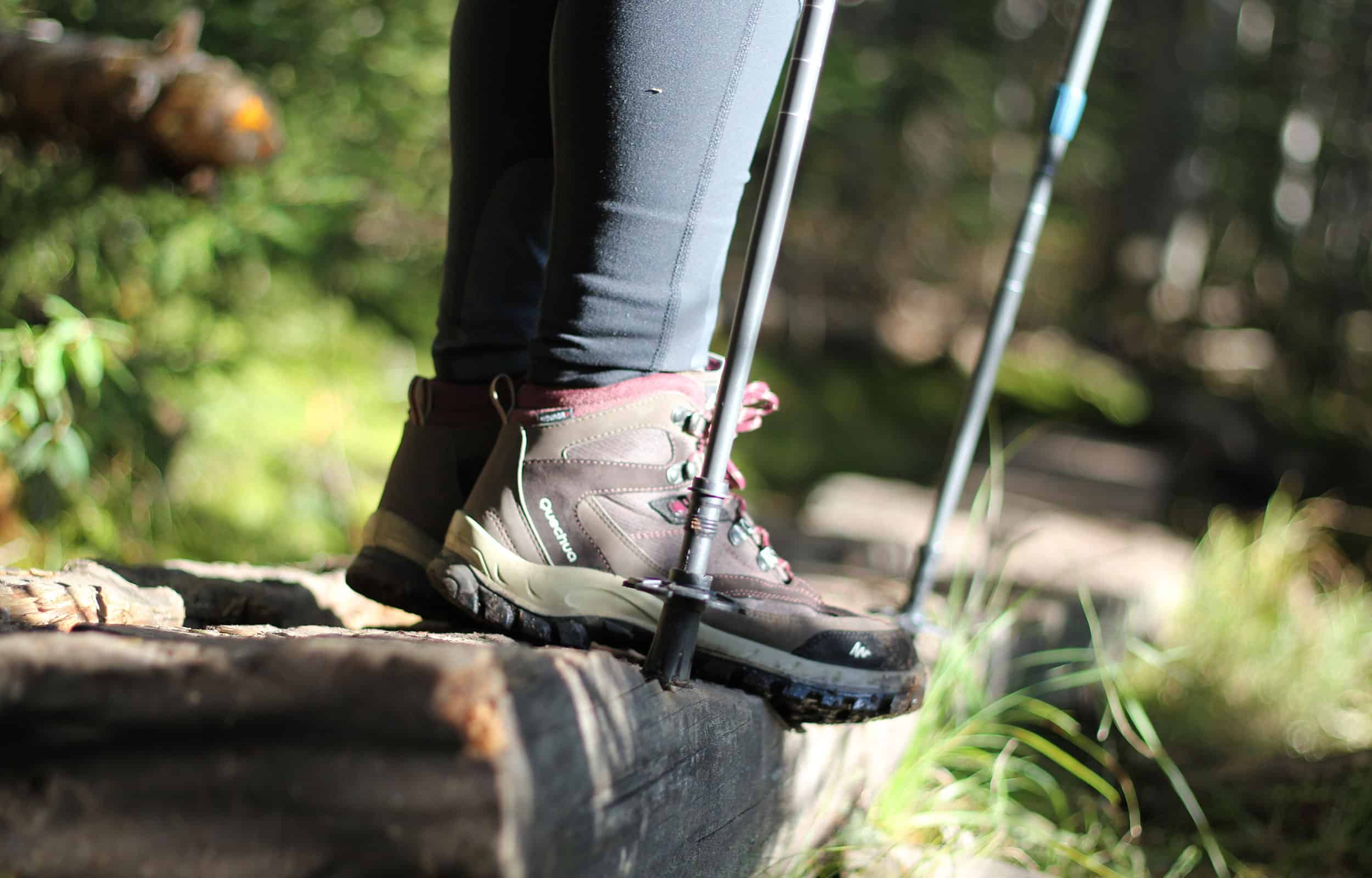 hiking boots and hiking sticks