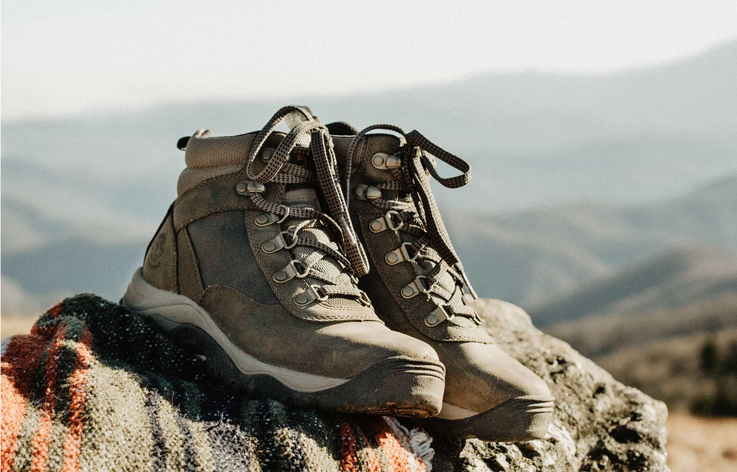 hiking shoes on big boulders