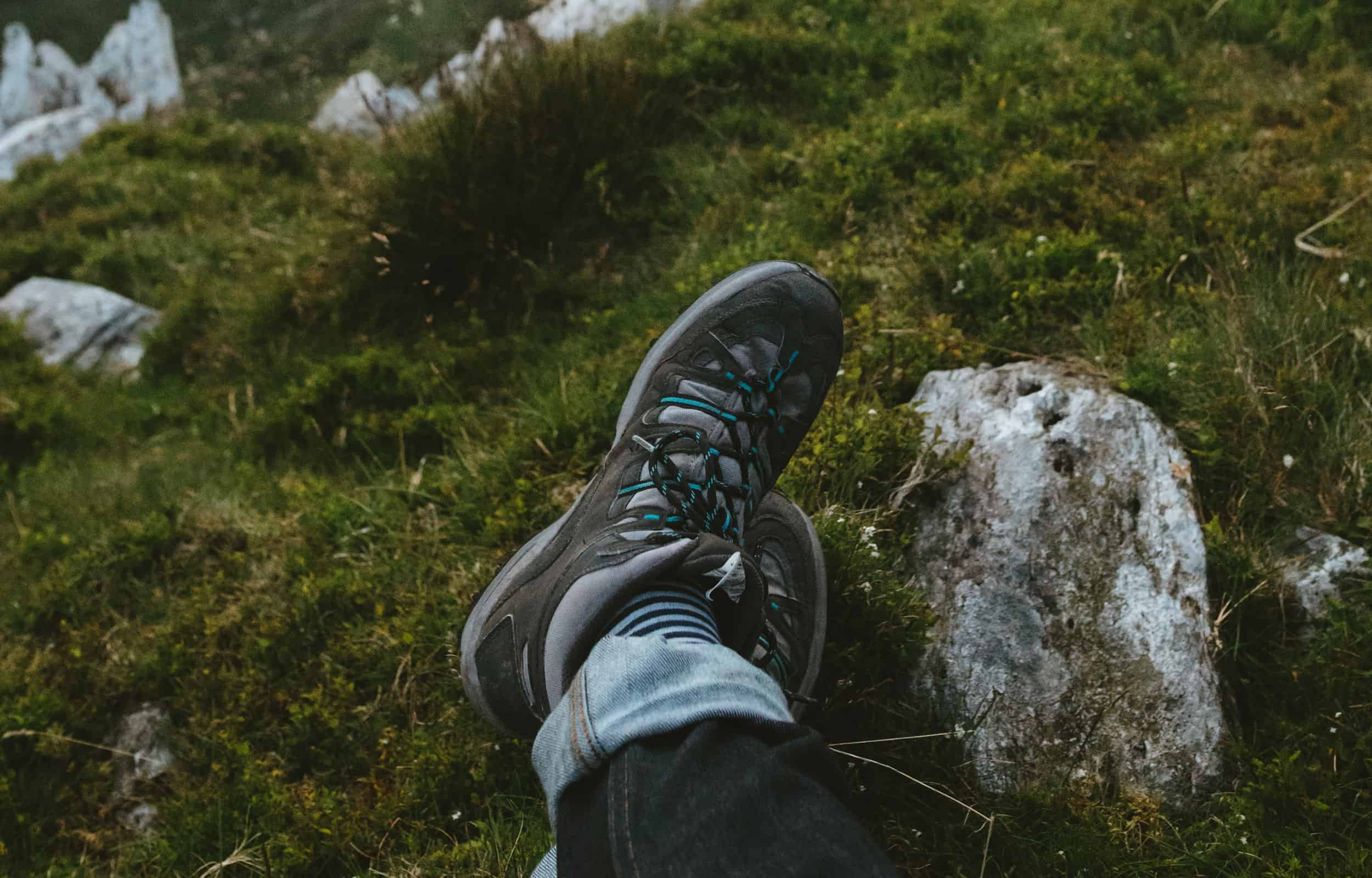 blue and gray hiking shoes
