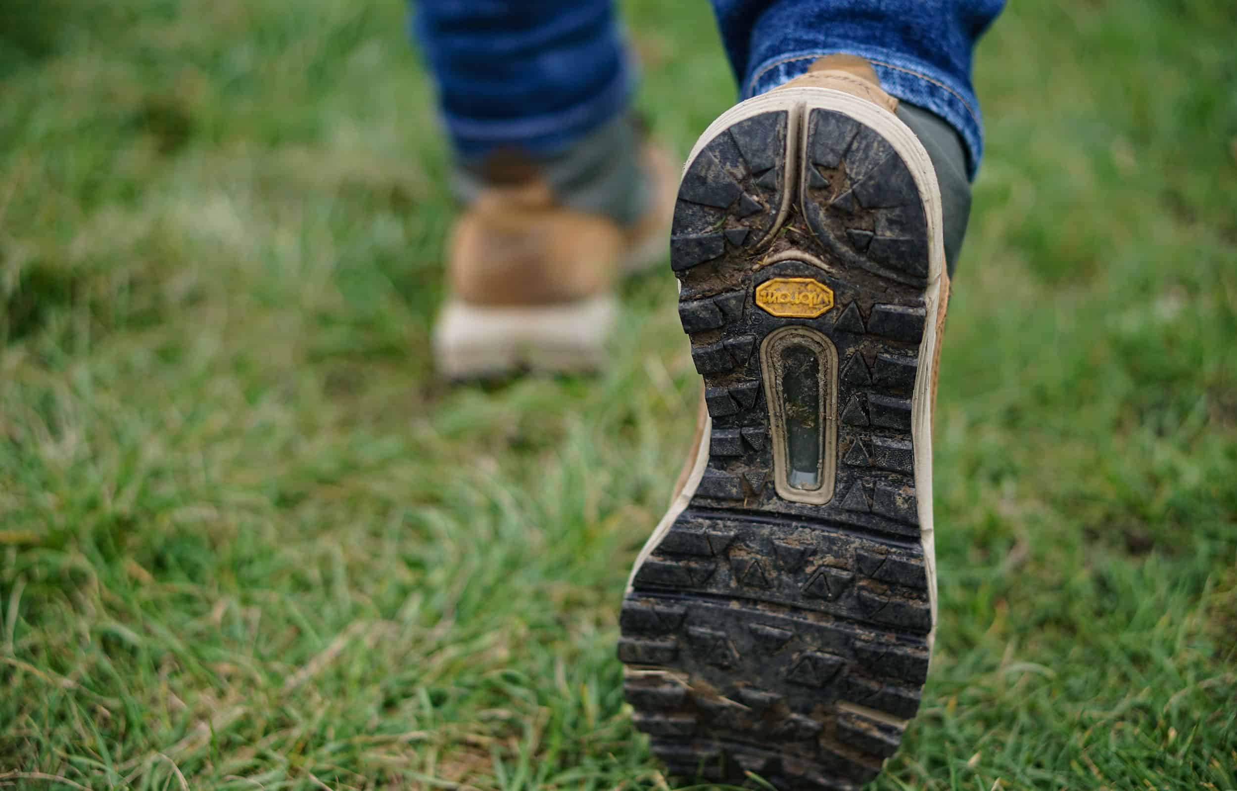 a close up of a pair of hiking boot's sole vibram
