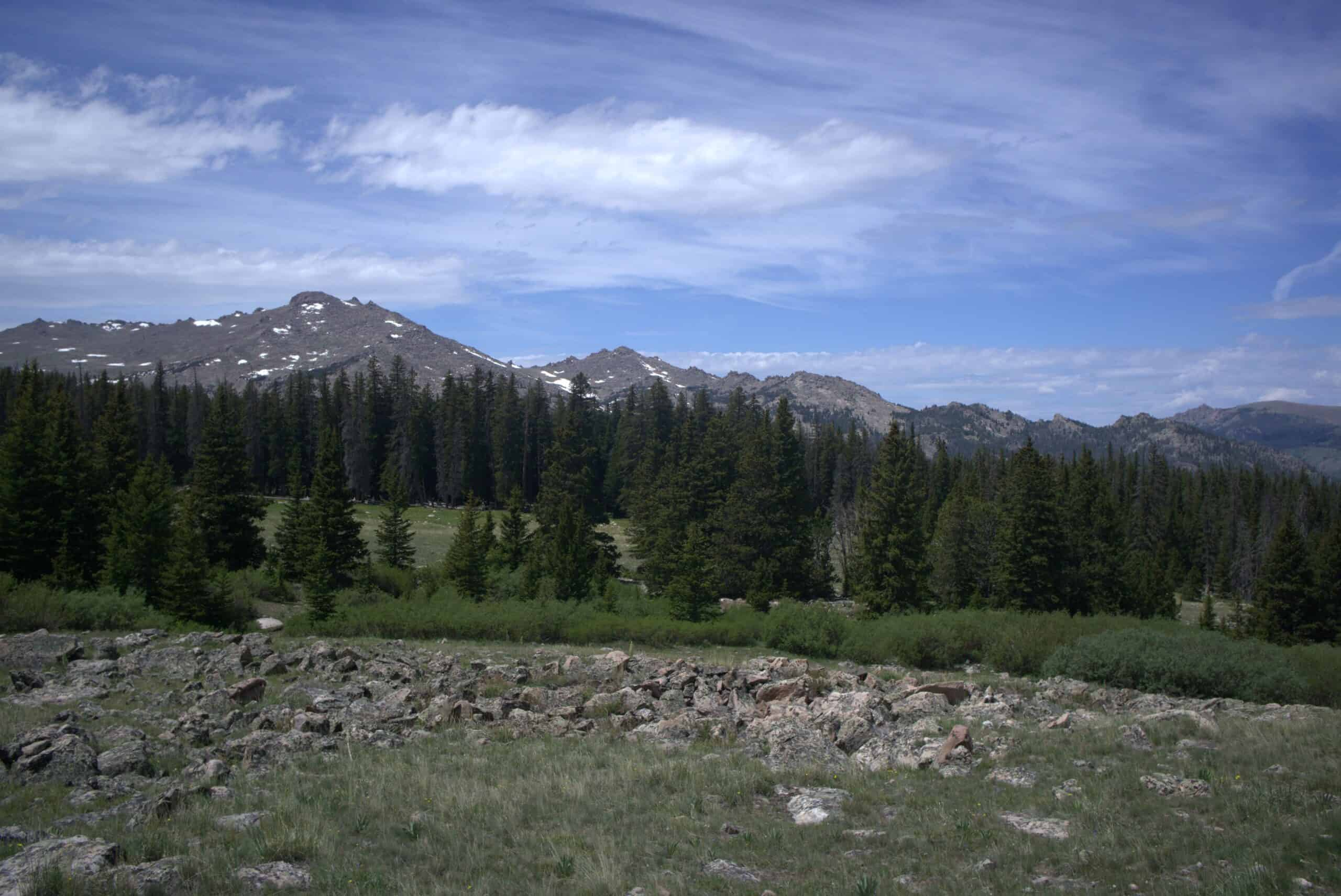 Hiking meadows rocks mountains trees