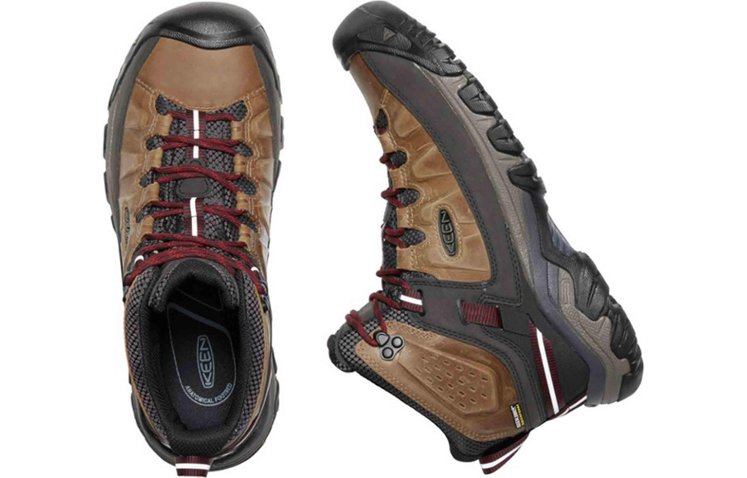 upper and side view of keen targhee iii boots