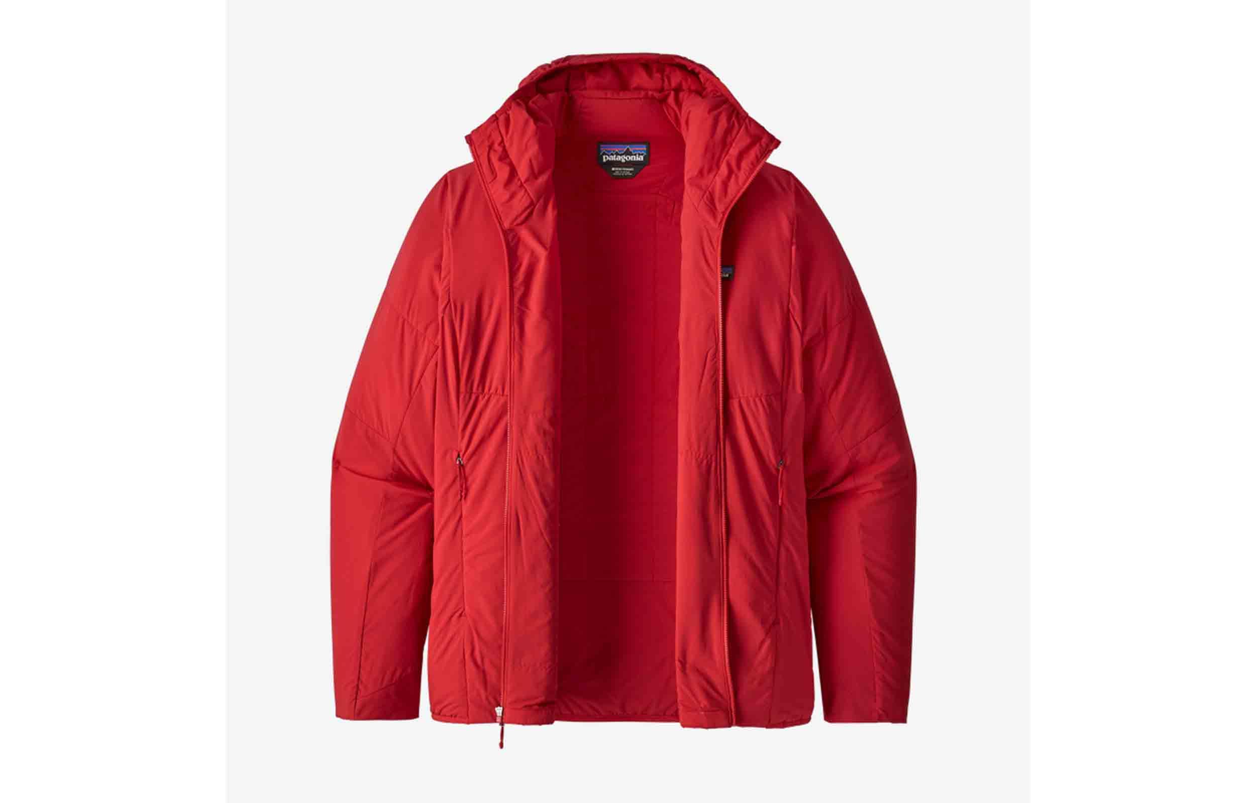 red patagonia nano air hoody unzipped