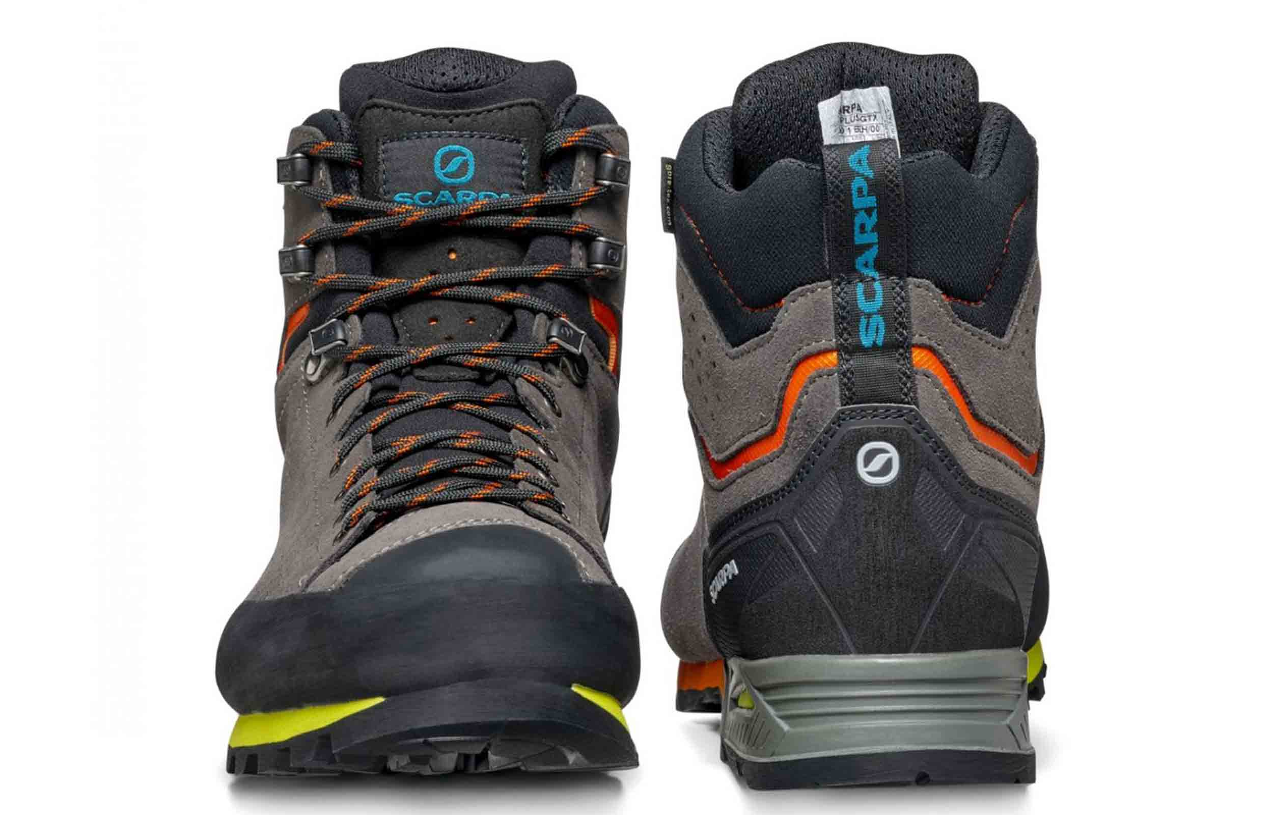 front and back view of scarpa zodiac plus gtx