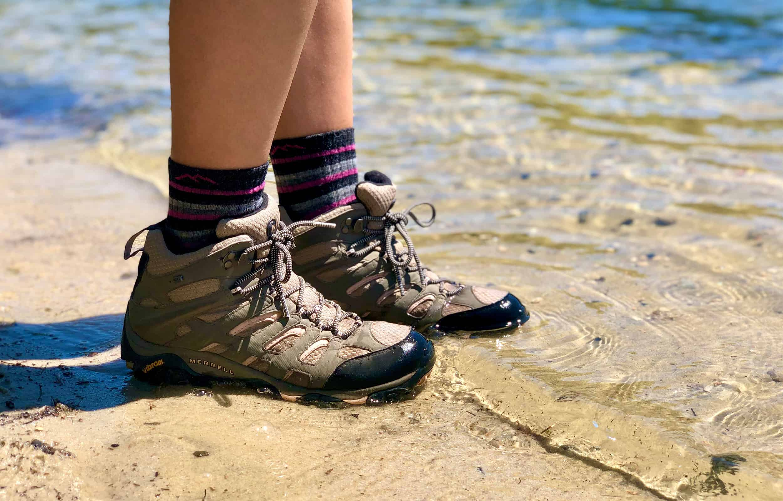 merrell moab 2 hiking boots in water
