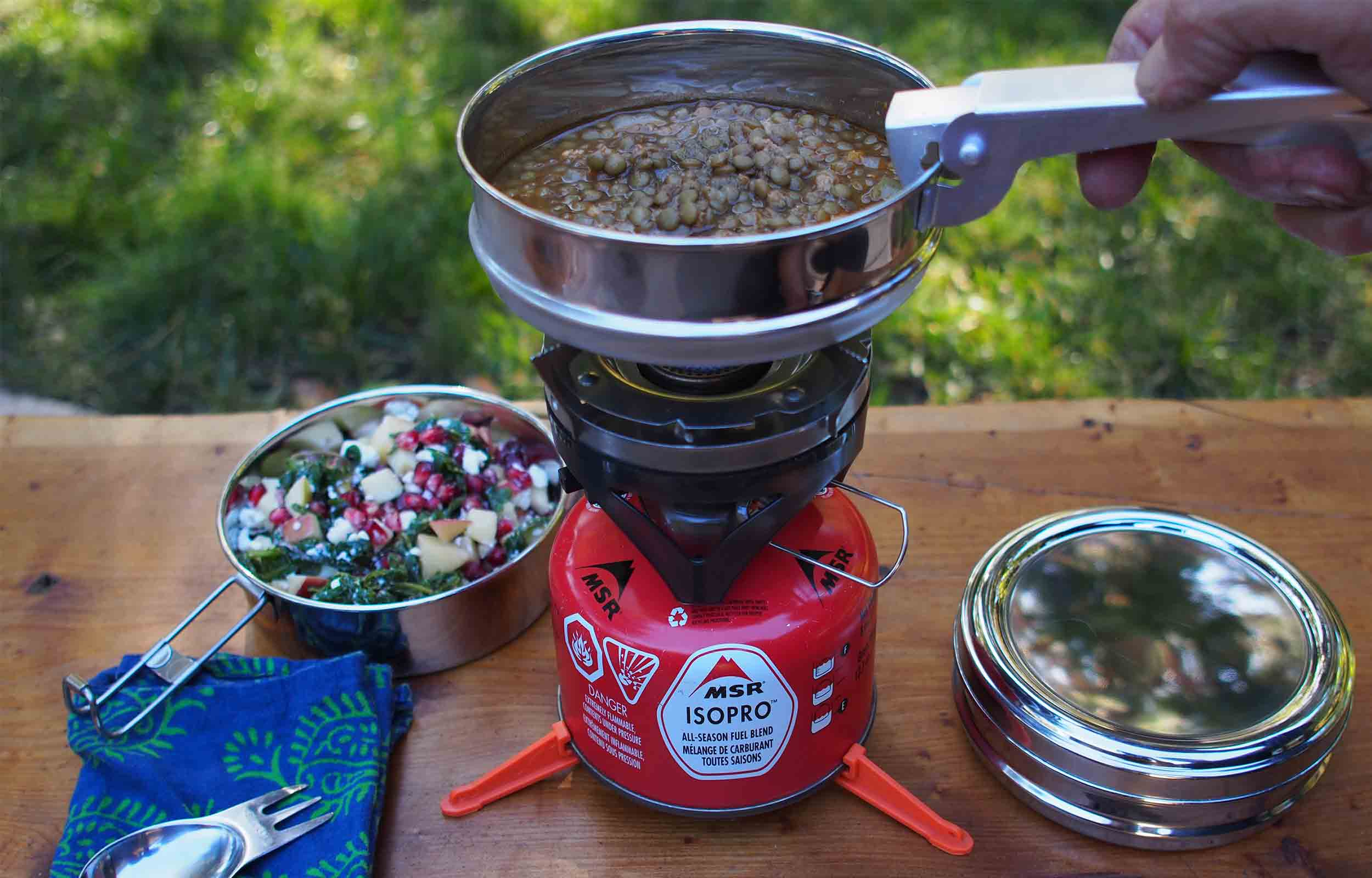 camping cooking with lentils