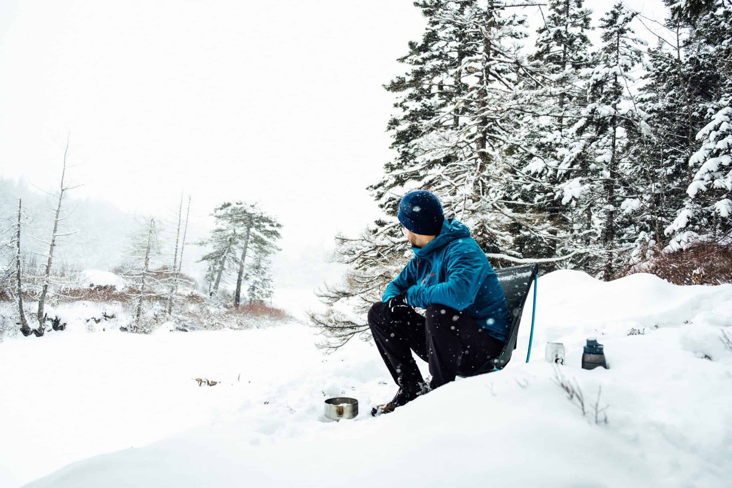 backpacking chair cold snow white camping