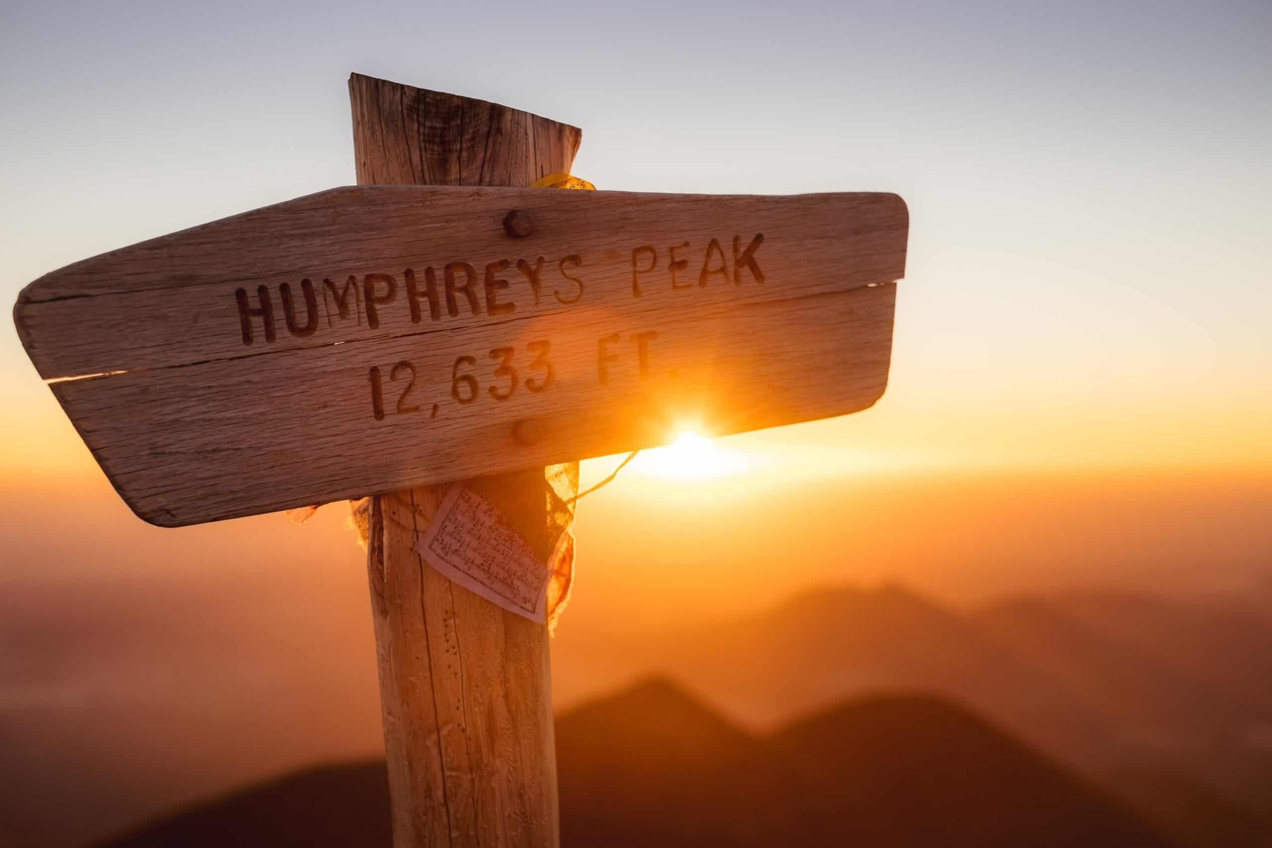 Humphreys peak hiking sunset sign