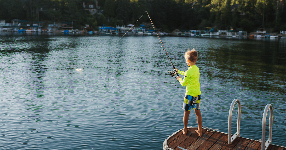 camping kids fishing