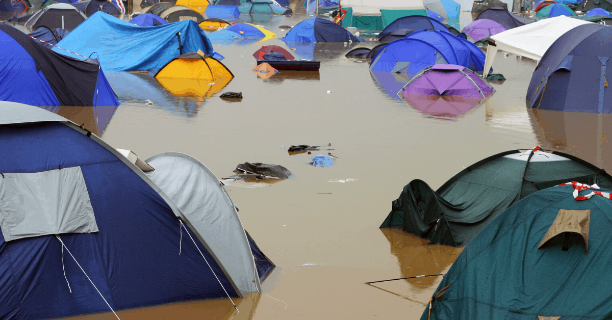 flood tents camping kids washed away
