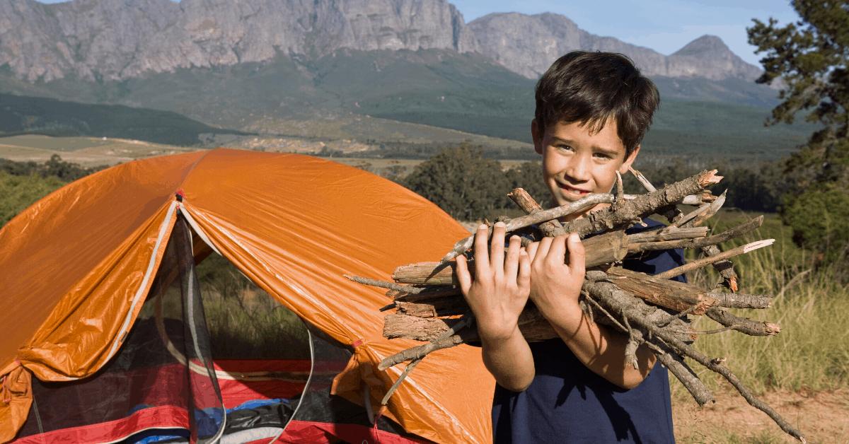 camping kids firewood