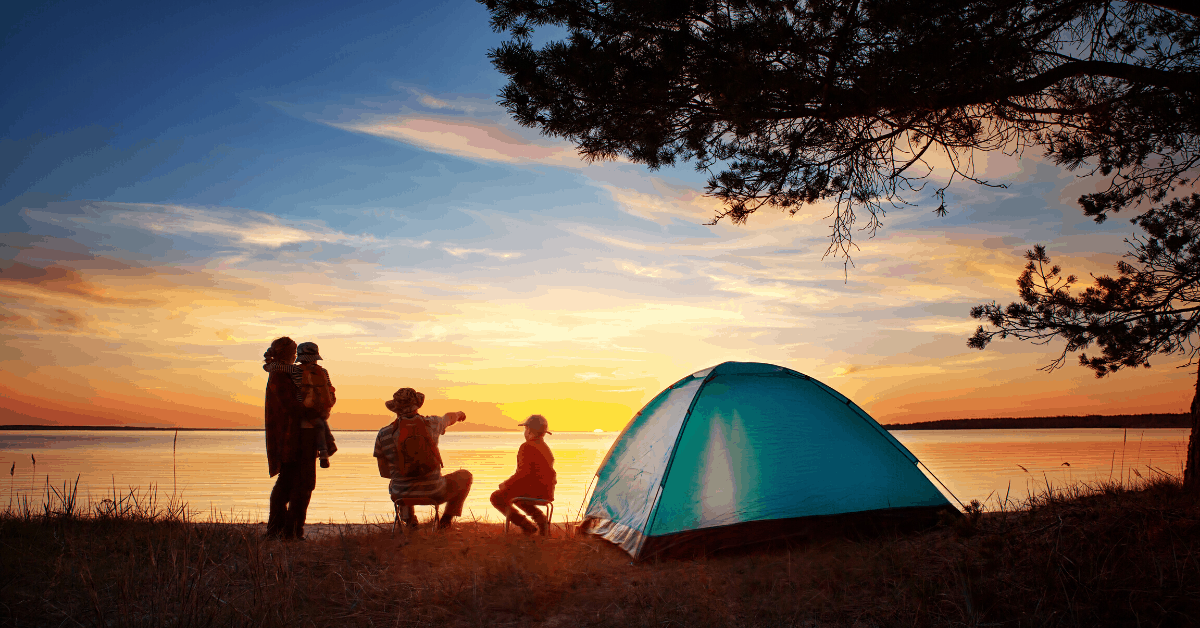camping kids sunset tent