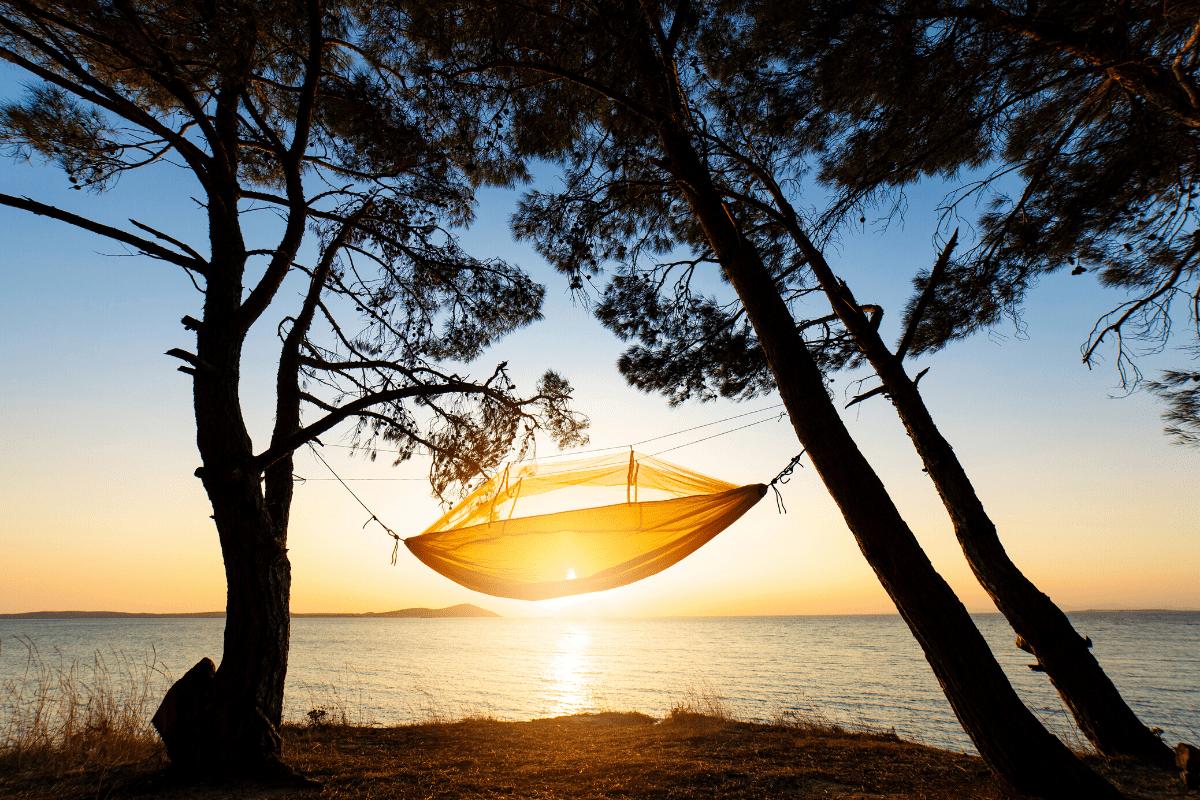 camping hammock parachute yellow