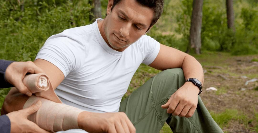man bandage first aid