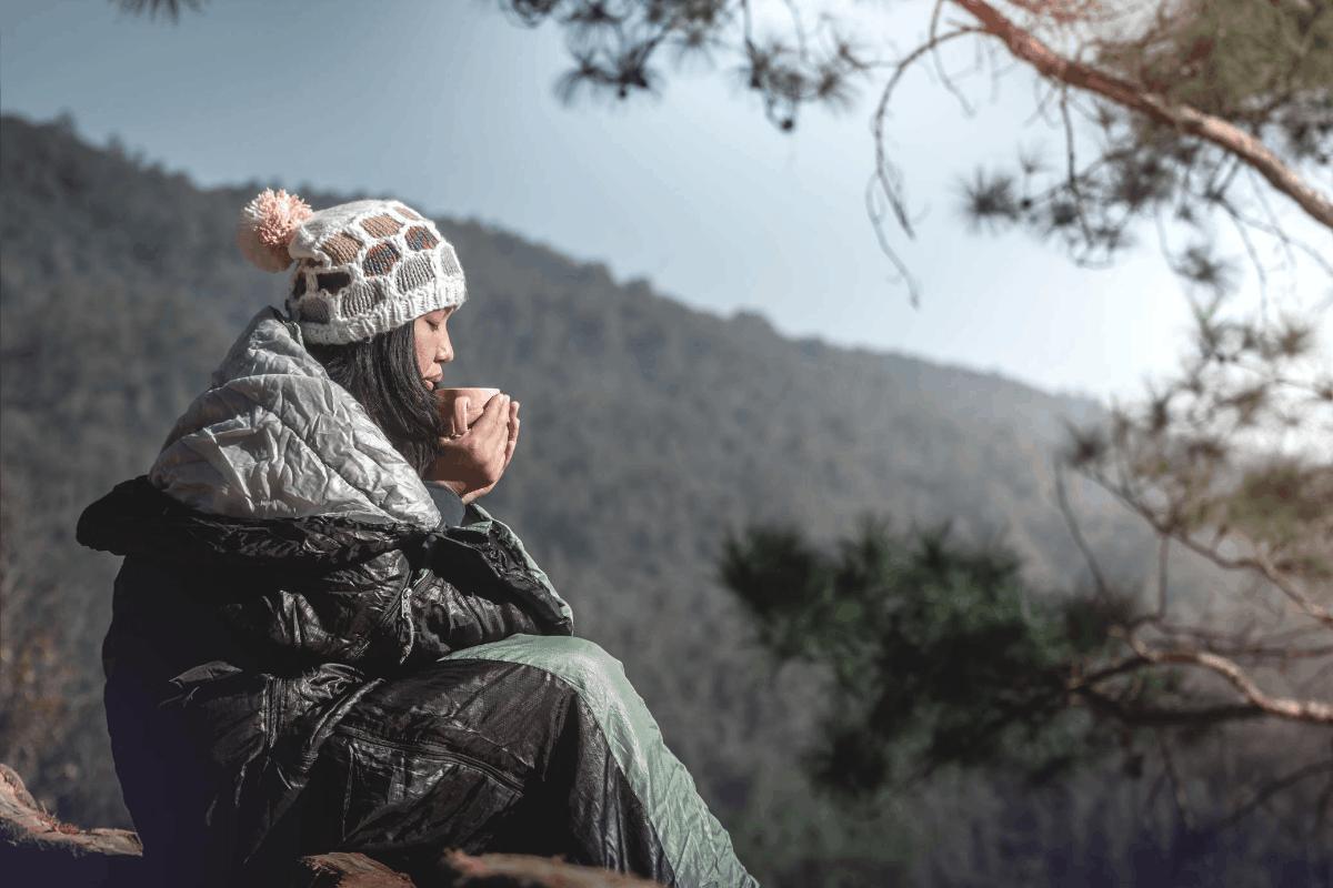 coffee camping girl mountain