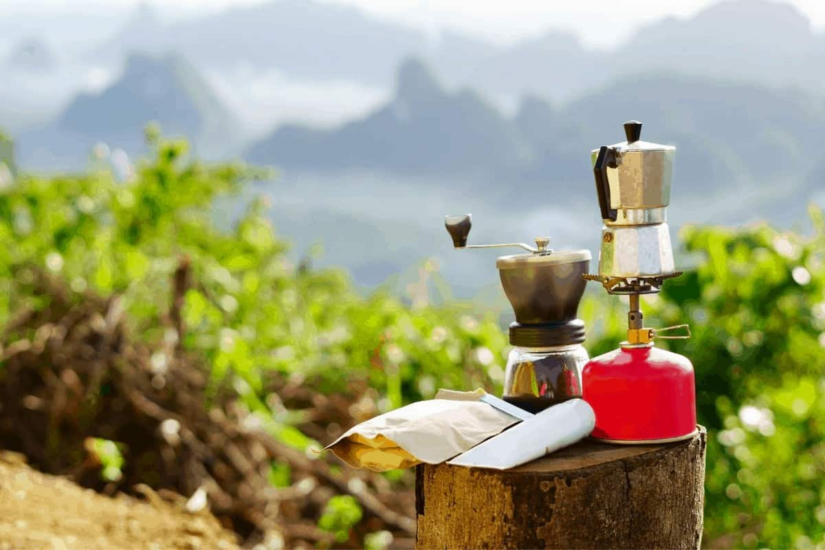 moka pot grinder camping coffee