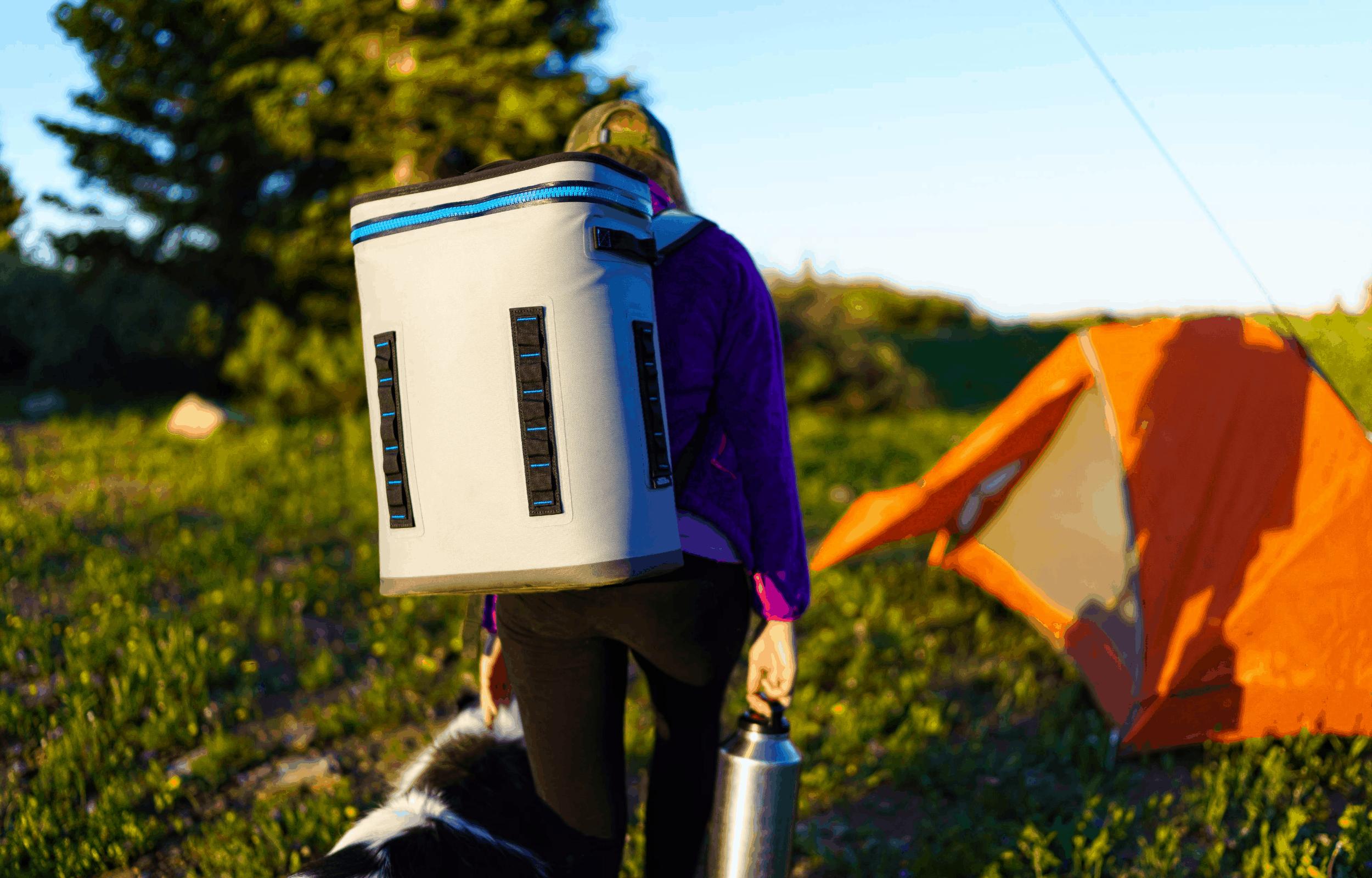 cooler backpack girl camping