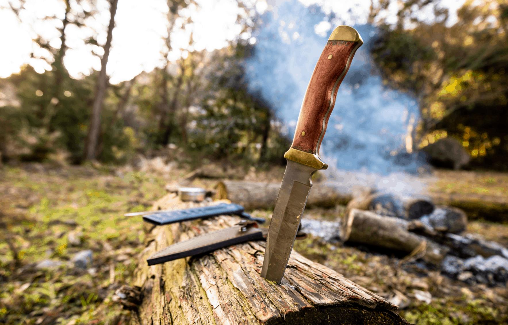 camping knife log