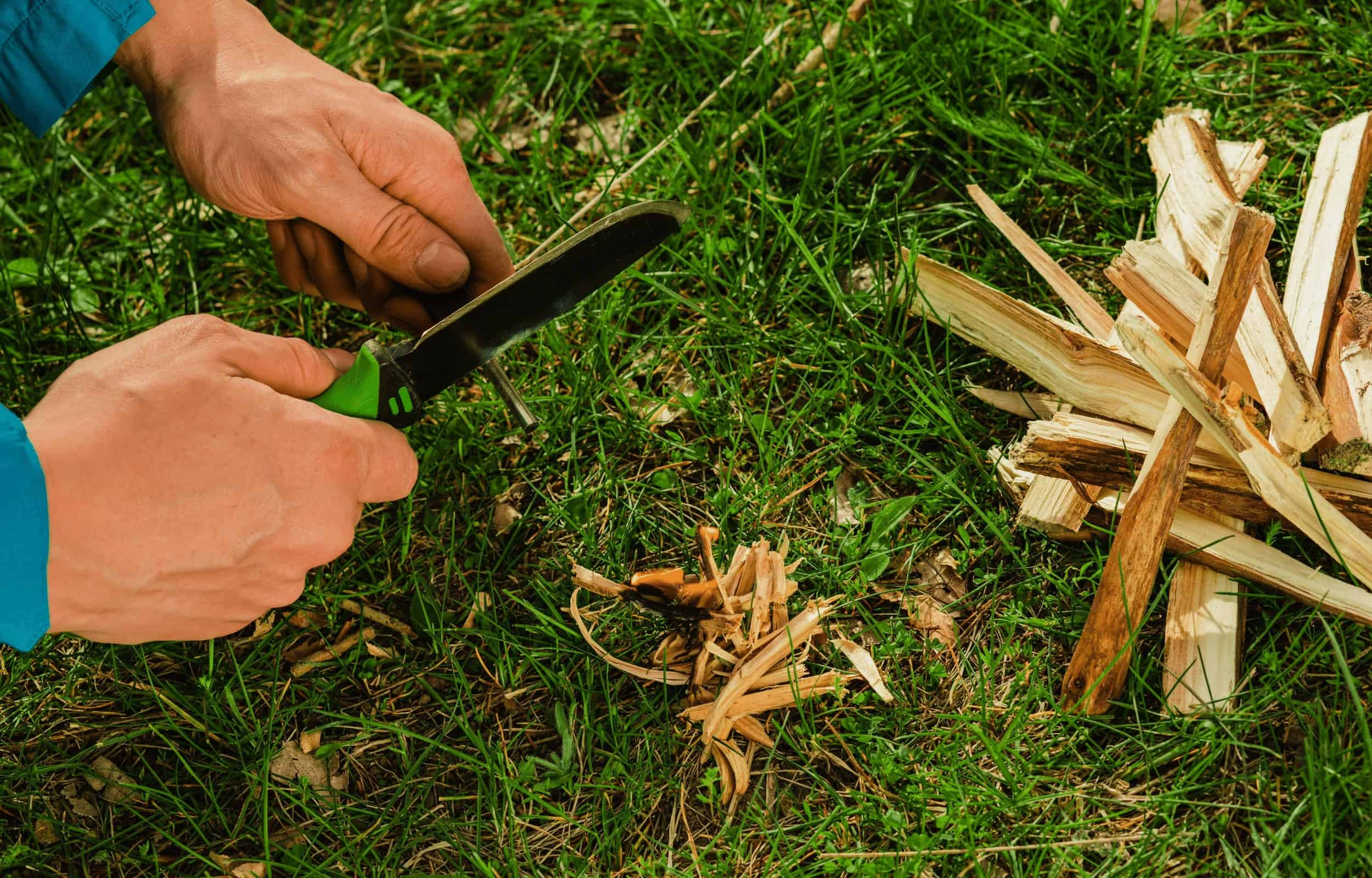 cutting firewood camping knife