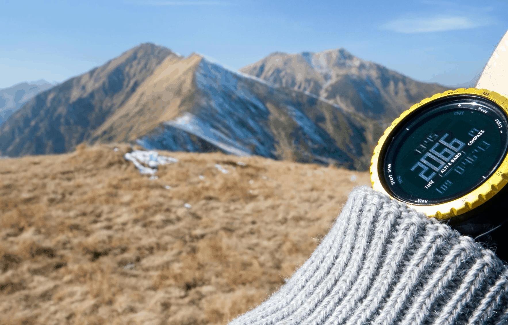GPS watch hiking mountain