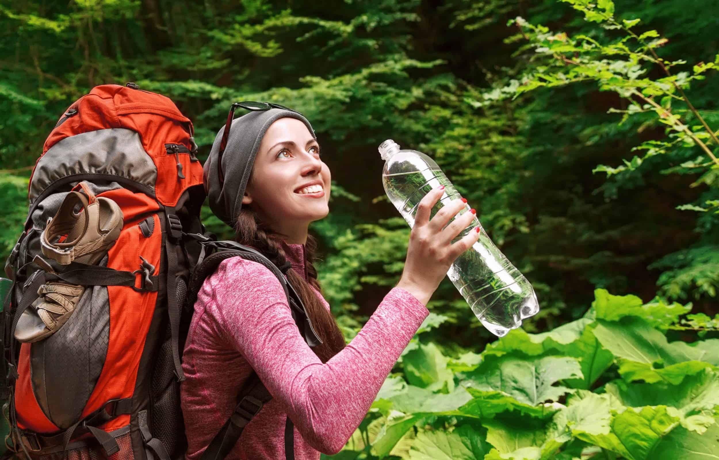 girl hiking water