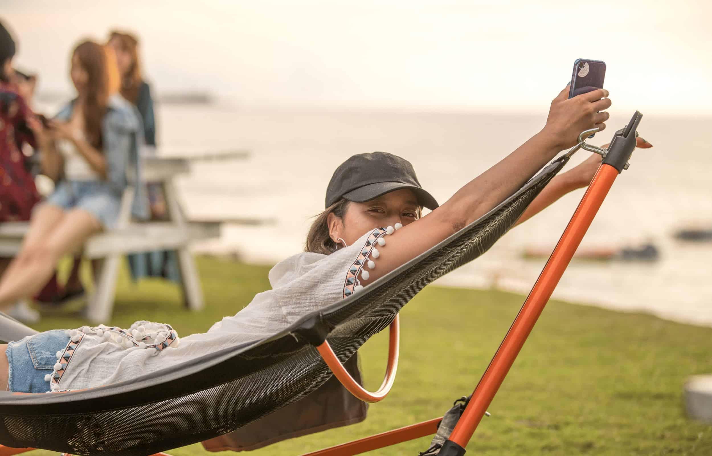 portable hammock stand girl