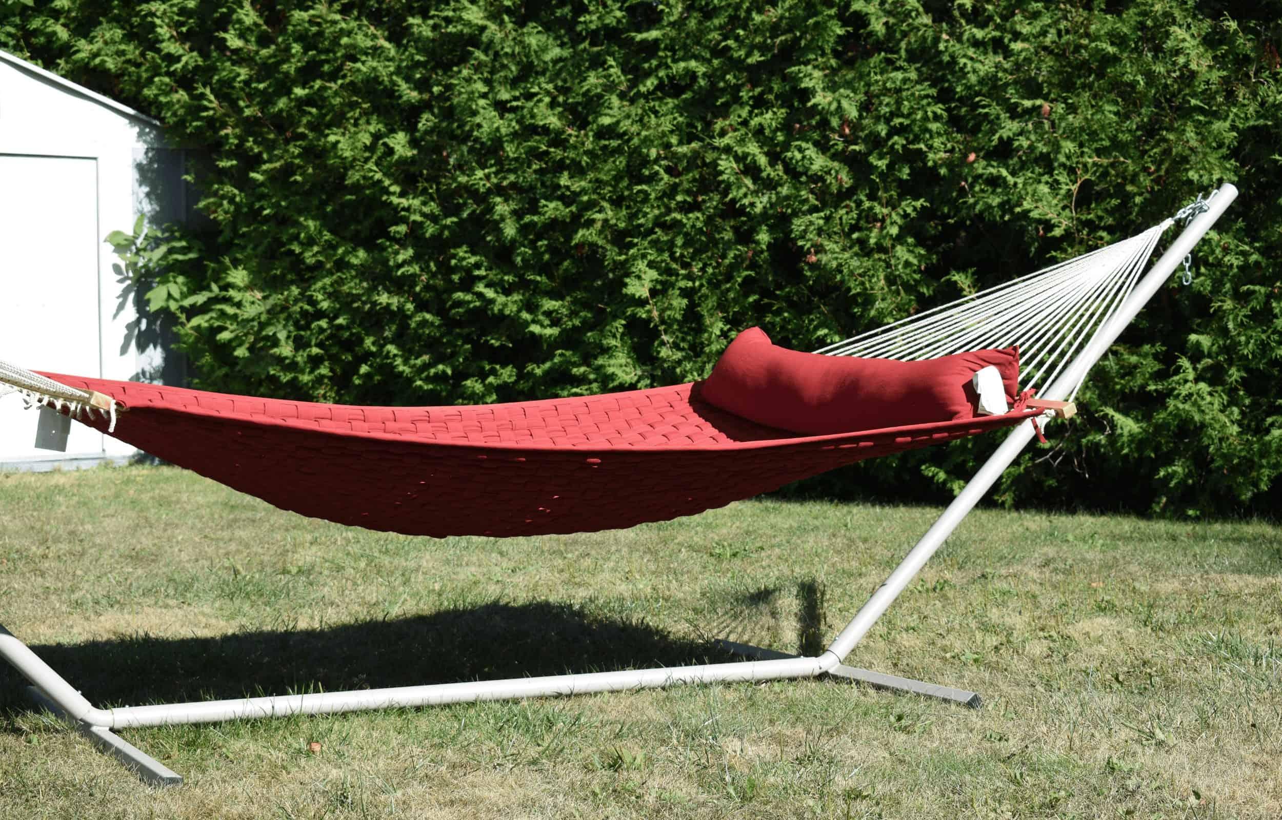 red hammock portable stand garden