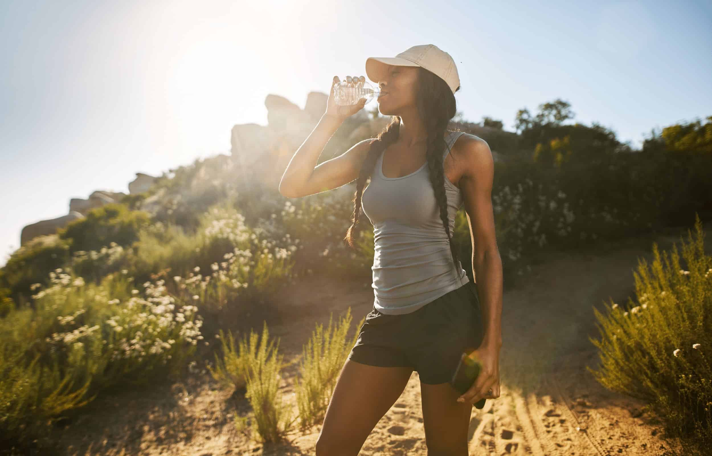 solo hiker hiking alone drinking water