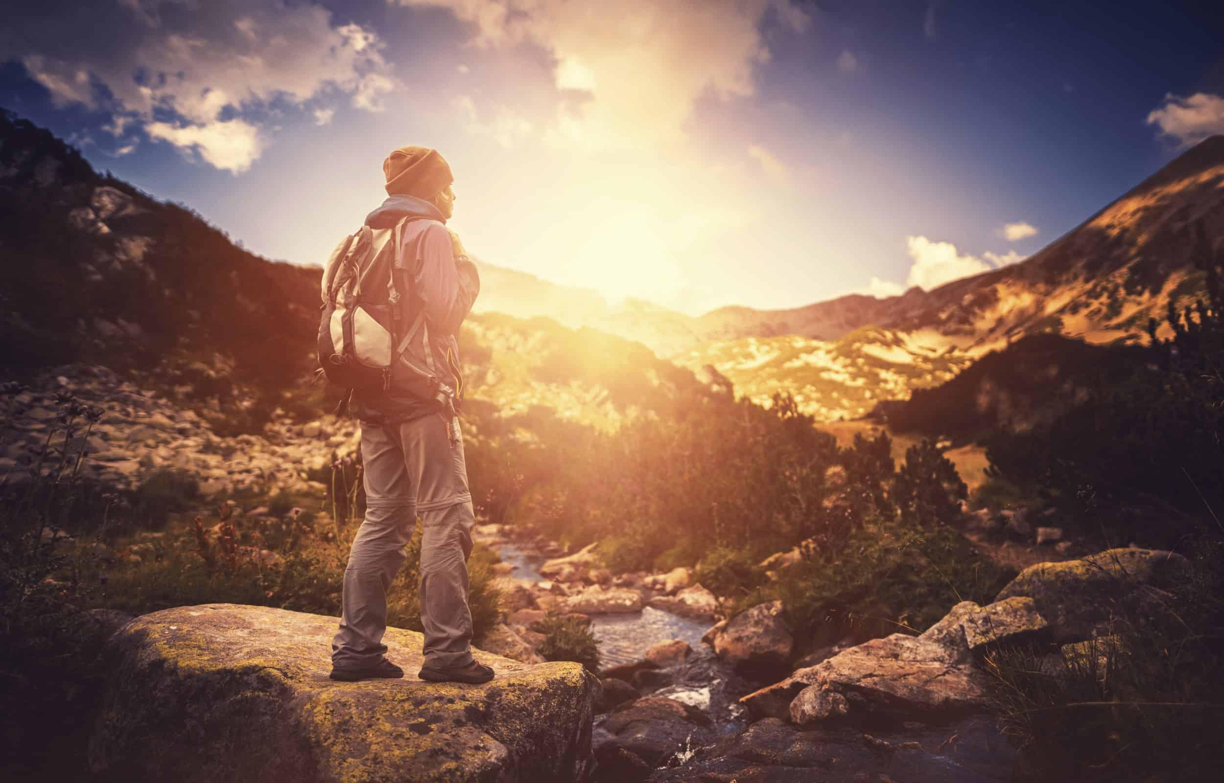 hiking alone mountain beanie backpack mountain