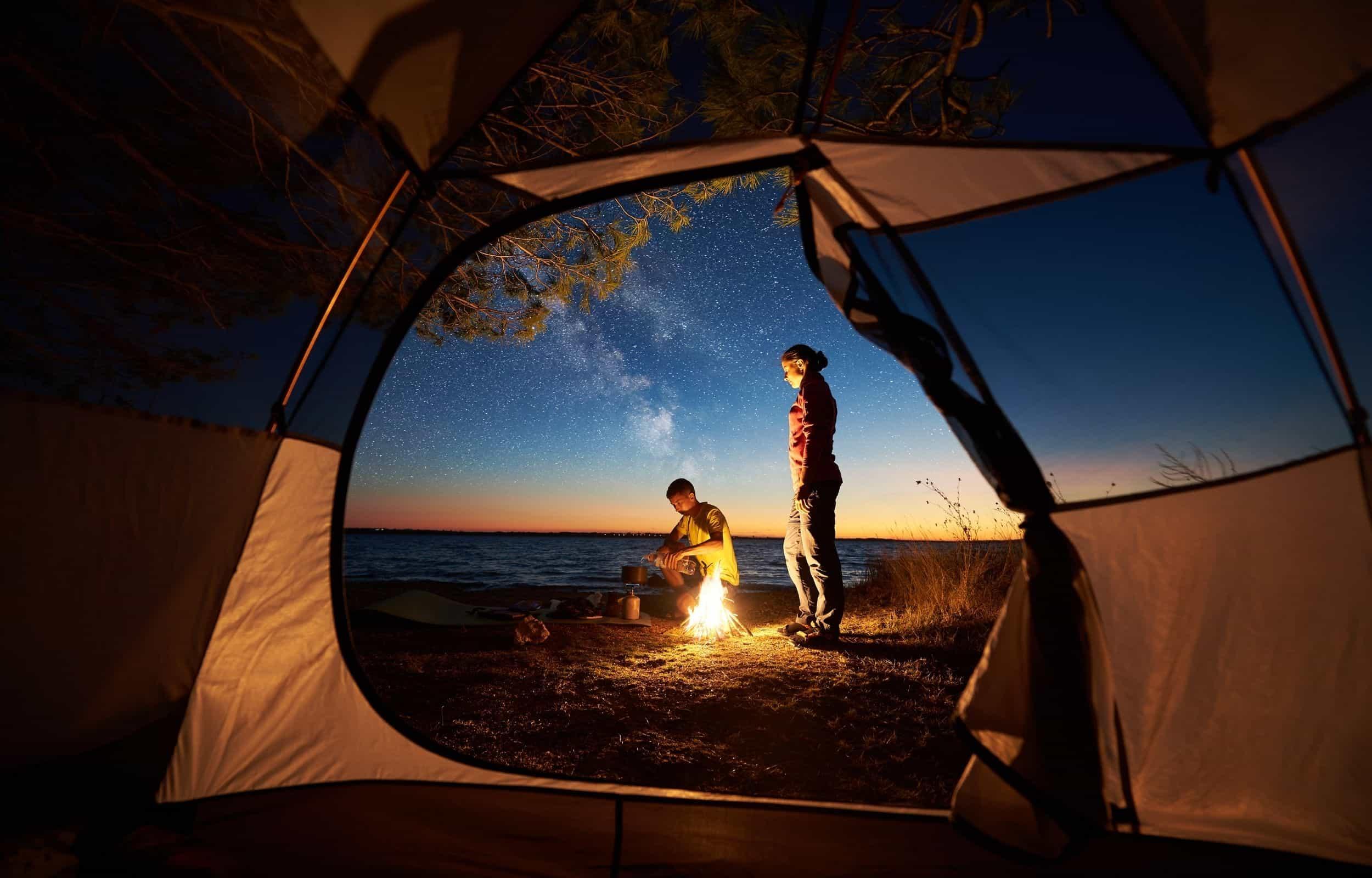 Tent night sky couple