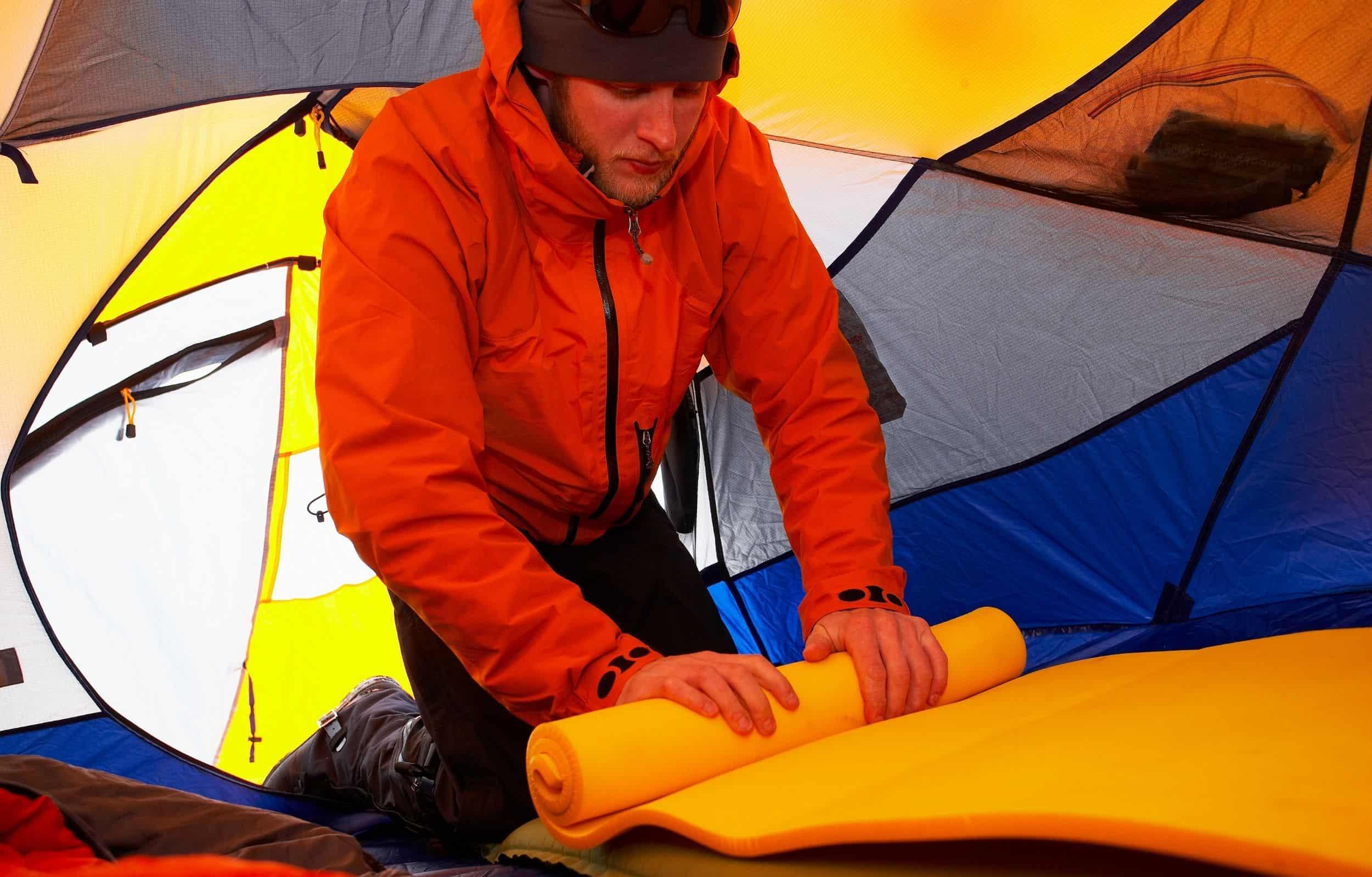 camping tent mattress orange pad