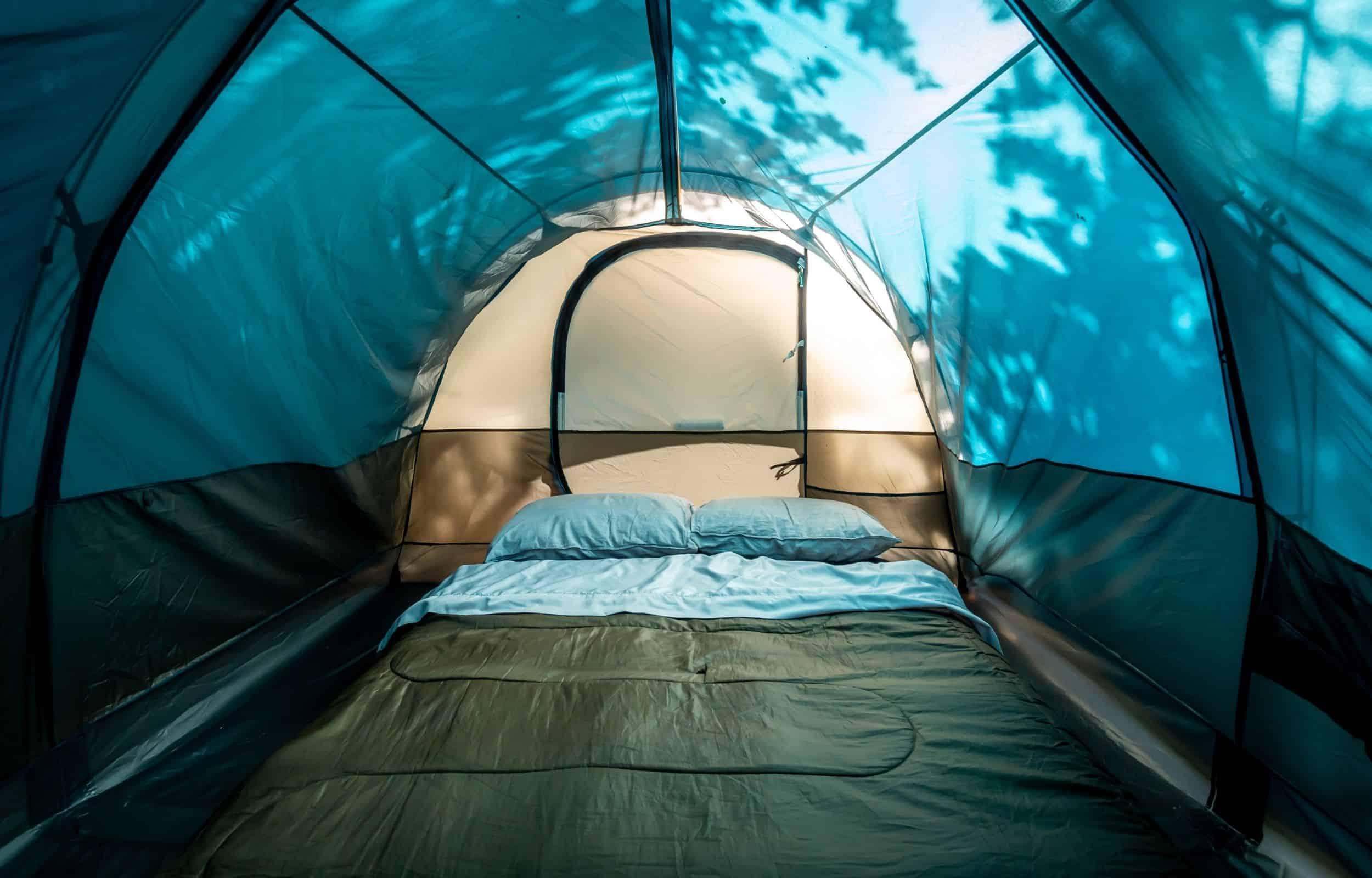 camping mattress tent blue