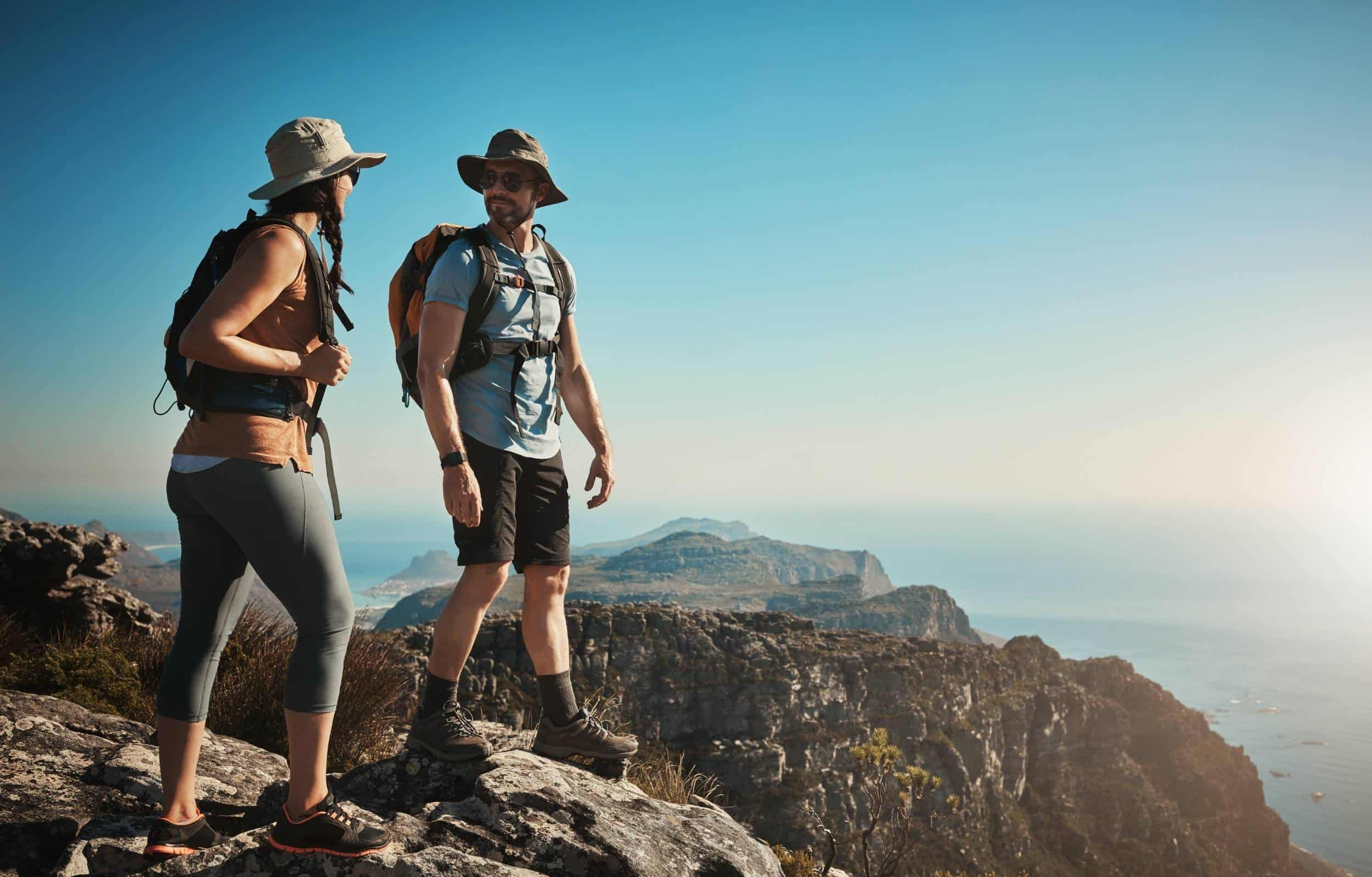 day hike couple mountain