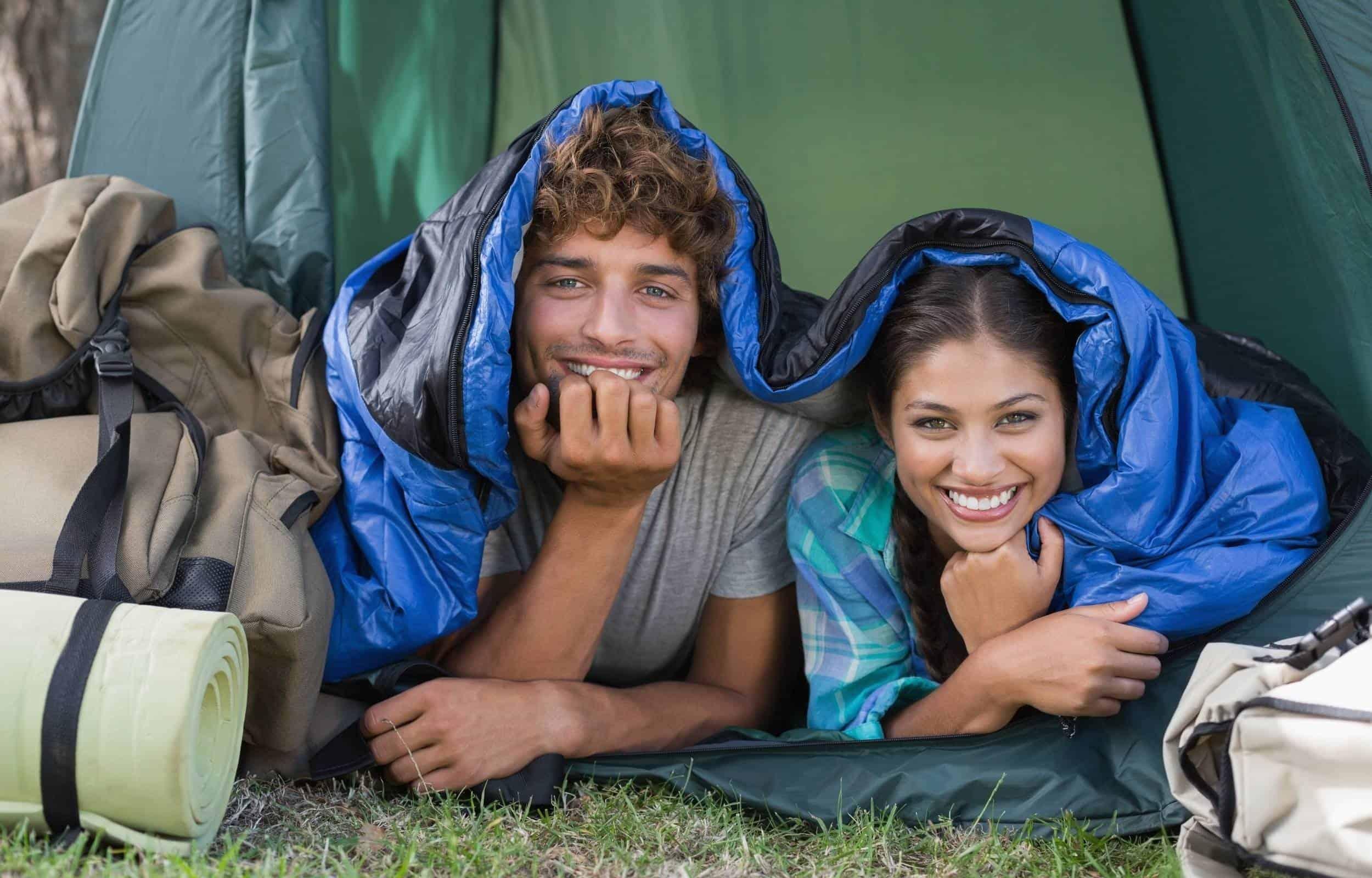 double sleeping bag couple camping