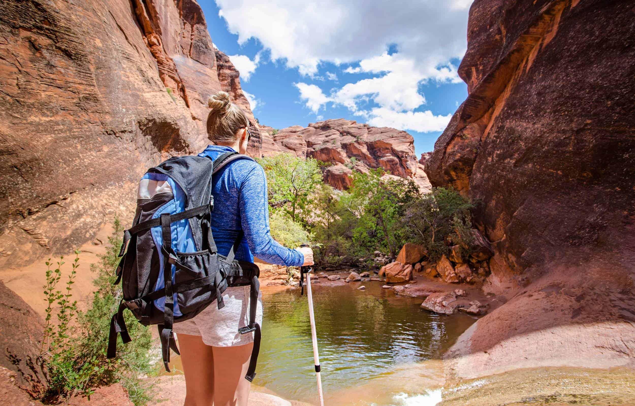 backpacking girl women mountain